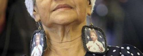 Chuck Norris Picture in Earrings