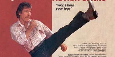 "Chuck Norris Action Jeans – ""Won't Bind Your Legs"""
