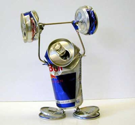 Can Art: Red Bull Can Weightlifting, Made From Red Bull Cans