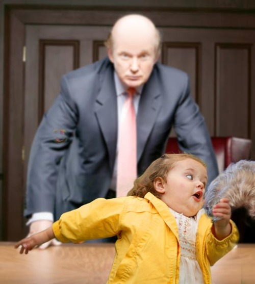Chubby Bubbles Girl Steals Donald Trump's Toupee