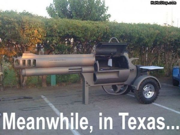 Meanwhile... In Texas. Gun shaped barbeque grill.